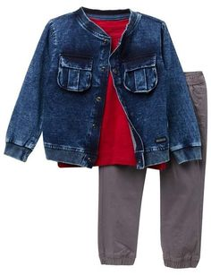 2e4a33dae74 Hudson Jeans Indigo Knit Jacket, Jersey Top, & Pants Set (Toddler Boys)