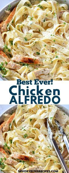 Learn how to make the best,quick and easy recipe of homemade skillet Chicken Alfredo pasta from scratch for dinner. The best Alfredo sauce,very simple,creamy and delicious - this one pot /one pan alfr Pasta Carbonara Receta, Pasta Al Pesto, Pasta Facil, Pasta Casera, Homemade Chicken Alfredo Sauce, Crockpot Chicken Alfredo, Recipes With Fettuccine Sauce, Best Chicken Alfredo Recipe Ever, Best Alfredo Pasta Recipe