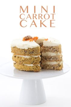 The best little low carb carrot cake! Mini three layer cake with sugar-free cream cheese frosting. LCHF Keto Banting THM recipe.  via @dreamaboutfood
