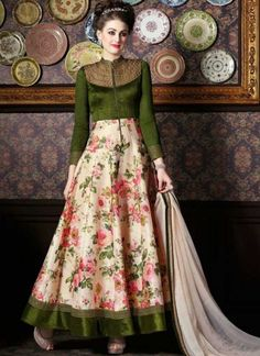 Olive Green Embroidery Zari Work Banrasi Silk Printed Anarkali Salwar Kameez http://www.angelnx.com/Salwar-Kameez/Anarkali-Suits