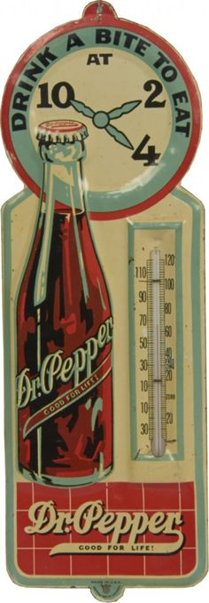 Pepper Embossed tin thermometer with advertising, Lot number: … - Advertising Design Pepsi, Coca Cola, Dr. Pepper, Vintage Advertising Signs, Vintage Advertisements, Vintage Posters, Retro Ads, Clock Vintage, Vintage Tins