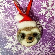 8a588ed54f25d Needle Felt Sloth with Santa Hat Ornament