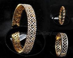 22 carat gold broad designer diamond bangles gallery from Malabargold jewellery. Rose cout diamonds intricate all over with built in scre. Indian Wedding Jewelry, Indian Jewelry, Bridal Jewelry, Diamond Bracelets, Silver Bracelets, Diamond Jewelry, Diamond Pendant, Bangle Bracelets, Gold Bangles Design