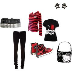 """red & black emo"" by foreverbroken on Polyvore"