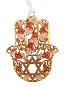 Enamel Red Star of David Hamsa with Grape design by aJudaica