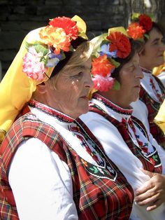 "Women in Bulgarian folk costumes  Architectural ethnographic museum ""ETARA"" is situated 8 km South of Gabrovo."