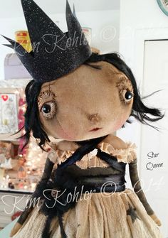 Primitive Doll Star Queen OOAK Fabric Cloth by VeenasMercantile, $145.00