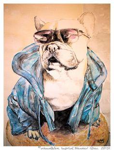 """""""Cool French Bullie Kira"""" Hundeportrait nach Fotovorlage/ dog's portrait painted from photograph; with water colour on Hahnemühle Paper © Wandklex Ingrid Heuser künstlerische Wandbemalung, Ratzeburg/Germany - ein Designerstück von wandklex bei DaWanda, - in meinem kleinen Klexshop http://de.dawanda.com/shop/wandklex können Sie Ihr persönliches Bild nach Ihrer eigenen Fotovorlage bestellen."""