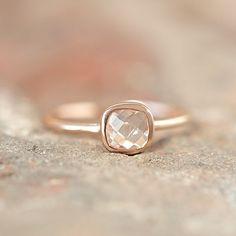 Rosé Gold Ring With Facetted Rock-Crystal by lebenslustiger