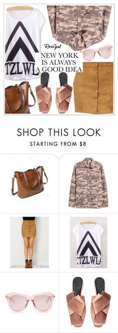 """ROSEGAL"" by teoecar ❤ liked on Polyvore featuring H&M and Karen Walker"