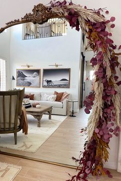 Create your own fall garland for a dramatic touch of fall this season. Shop artificial pampas grass and preserved eucalyptus to recreate this look by @desertdecor. Shop the look at Afloral.com.