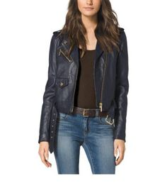 Calling all rebels with (or without) a cause: meet your perfect cover-up for fall. In a cropped silhouette, our moto jacket is crafted from the softest leather and features pockets and a belt at the waist for a classic  finish. Soften up its tough-girl feel by pairing it with polished separates. I love this jacket and the color!