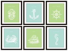6 Blue Nautical Bedroom or Bathroom Art Prints by CleverPrintables, $25.00