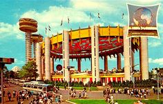 "The New York State Pavilion complex featured three tall observation towers and a colorful ""Tent of Tomorrow"" with the world's biggest suspension roof. 1964"