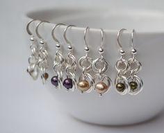 Silver Pearl Earrings on Mug