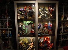 Crazy good PAX frame painting! Action Figure Display Case, Nerd Cave, Man Cave, Comic Book Rooms, Comic Book Storage, Mens Gadgets, Display Shelves, Display Cabinets, Man Office
