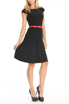 {Sophia Dress in black} w/ skinny red belt