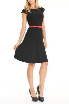 {Sophia Dress in black} w/ skinny red belt
