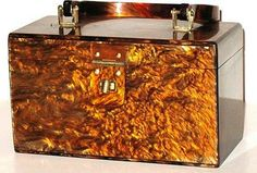 1950's Vintage Tortoise Shell Lucite Box Purse