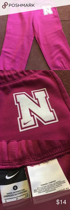 Nike Capri joggers Size small, pink color with white N detail on side. Excellent condition Nike Pants Track Pants & Joggers