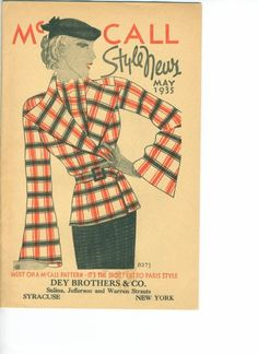 Style News booklet from McCalls patterns is dated May 1935 and contains approx 32 pages of color illustrations of patterns. This promotional booklet