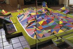 Arakawa and Madeline Gins - A+U 255 Dec 1991 Architectural model of multi-coloured polygon playground. [via RNDRD] Exhibition Plan, Picnic Blanket, Outdoor Blanket, Arch Model, Play Equipment, Street Furniture, Amusement Park, Architecture, Images