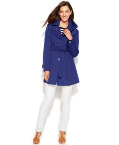 bae9e87b86e London Fog Hooded Layered-Lapel Trench Coat   Reviews - Coats - Women -  Macy s