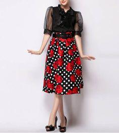 Black Floral Women Midi Skirts With Belt Midi Skirts 4f6b78a28092