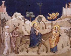 """""""The Flight into Egypt"""", c.1305 (fresco), by Giotto di Bondone (c.1266-1337) at Scrovegni (Arena) Chapel, Padua, Italy"""