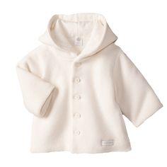 Petit Bateau - Garter stitch knit coat with a hood - 27645
