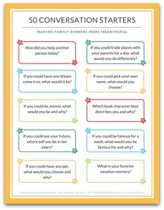 These 50 Family Dinner Conversation Cards will help you connect with your family around the table. No more wondering what to talk about! You'll receive 5 pages of fun family dinner conversation cards to use during meal time - or any time! Conversation Starters For Kids, Conversation Topics, Conversation Starter Questions, Communication Orale, Communication Skills, Dinner Themes, Dinner Table Games, Family Night, Printing Labels
