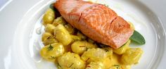 Angelo's Fresh Pasta Products | Potato Gnocchi with Pan Fried Salmon and Creamy Saffron and Lemon Sauce
