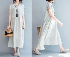 women embroidered cotton long dress /linen dress plus size/linen dress for women