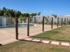 Cool way to make a modern glass pool fence less modern. You could get the glass etched with a picture or something as well (like a gumleaf) to tie it in with an existing patio fence. Glass Pool Fencing, Glass Fence, Pool Fence, Pool Gates, Patio Fence, Fence Gate, Pergola Patio, Pergola Ideas, Moderne Pools