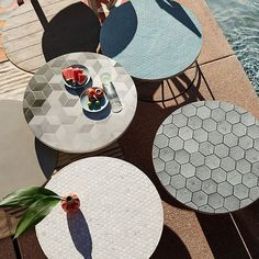 Mosaic Tiled Bistro Table - White Marble Top + Driftwood Base   west elm