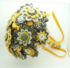 Felt Bouquet, embroidery, buttons