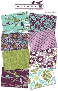 teal, purple, and green