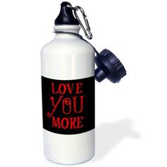 3dRose Love You More, red letters, black background, Sports Water Bottle, 21oz