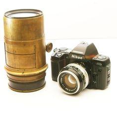 """Vintage Brass Lens HUGE Petzval Lens 5"""" for Large Format Camera 4x5. $385.00, via Etsy."""
