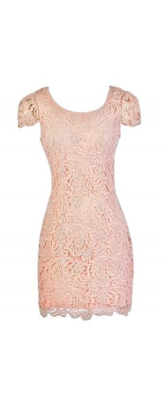 Carrie Capsleeve Lace Pencil Dress in Pink  www.lilyboutique.com