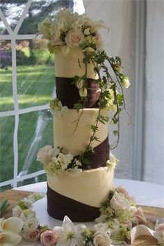 Tall three tier cake I love how the ivy hangs over the front. The chocolate brown bands is made of chocolate clay.