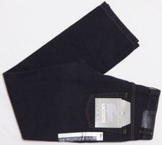 NWT-Mens-LACOSTE-Jeans-33X34-Black-42-REGULAR-FIT-Garment-Washed-Faded-Look