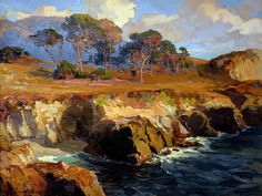 """Bischoff, Franz (1864 - 1929) - """"Gold Rimmed Rocks and Sea""""; early California impressionist"""