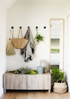 bench, hooks, + mirror (perfect for an entryway)