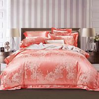 bohemian style flowers print pink linens silk cotton jacquard duvet cover sets Queen/Full/Double/King Size bedding sets