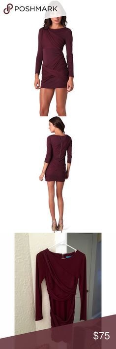Alice + Olivia Long sleeve plum dress Super flattering long sleeve plum dress. very stretchy, and comfortable. size 4 but could easily fit a 6. Alice & Olivia Dresses