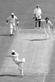 Roy Fredericks hooked Dennis Lillee for six but trod on his stumps, Australia v West Indies, World Cup final, Lord's, June 21, 1975.