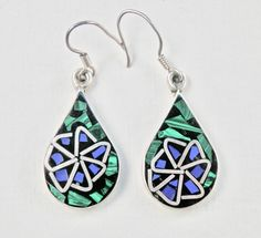 Mexican Silver Earrings, Silver Inlay, Taxco Mexico, Taxco Silver, Vintage Jewelry, Malachite, Blue Lapis, Black Onyx, 925, Signed Mexican