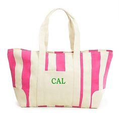 Pink Striped Canvas Tote