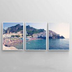 Amalfi tryptich print - set of 3 Amalfi photo - Amalfi coast art - Italy photography - Beach triptych print - Triptych art - coast print - coast art. SIZE: [Select using drop-down menu.] Print on a We The People Poster, Triptych Art, Beautiful Posters, Modern Prints, Amalfi Coast, Landscape Photographers, Wall Art Prints, Etsy, Pastel